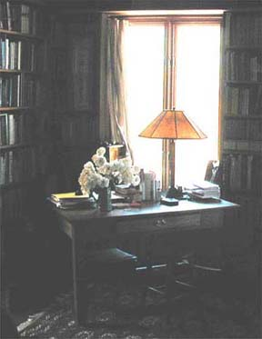 a library desk with lamp surrounded by books